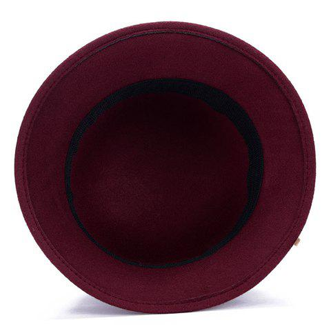 Shop Chic Solid Color Leaves and Lace-Up Felt Bowler Hat For Women - COLOR ASSORTED  Mobile