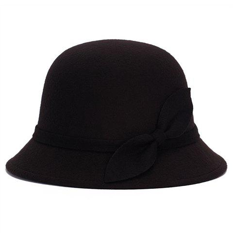 Best Elegant Vintage Style Lace-Up and Bowknot Felt Bowler Hat For Women