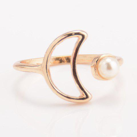 Cheap Faux Pearl Moon Cuff Ring - ONE-SIZE GOLDEN Mobile