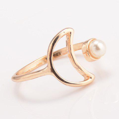 Outfits Faux Pearl Moon Cuff Ring - ONE-SIZE GOLDEN Mobile