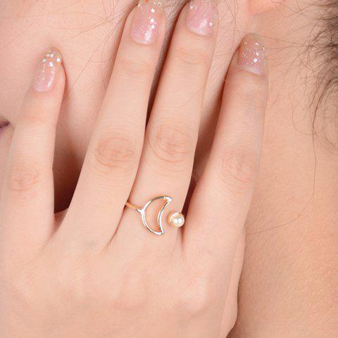 Fancy Faux Pearl Moon Cuff Ring - ONE-SIZE GOLDEN Mobile