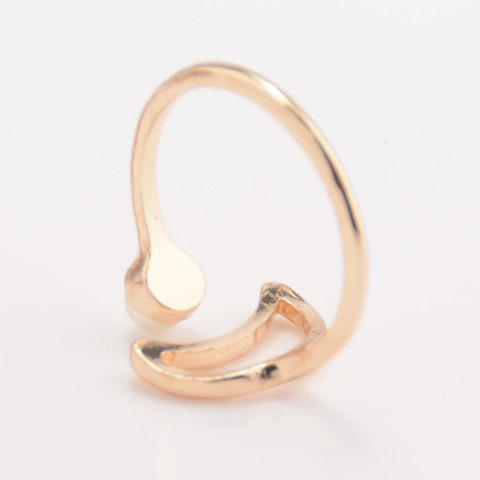 Shop Faux Pearl Moon Cuff Ring - ONE-SIZE GOLDEN Mobile