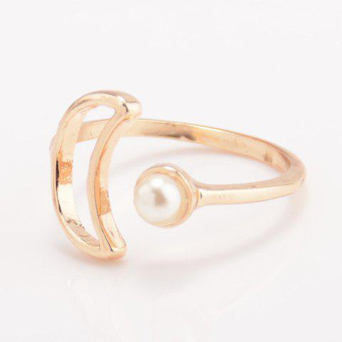 Store Faux Pearl Moon Cuff Ring - ONE-SIZE GOLDEN Mobile