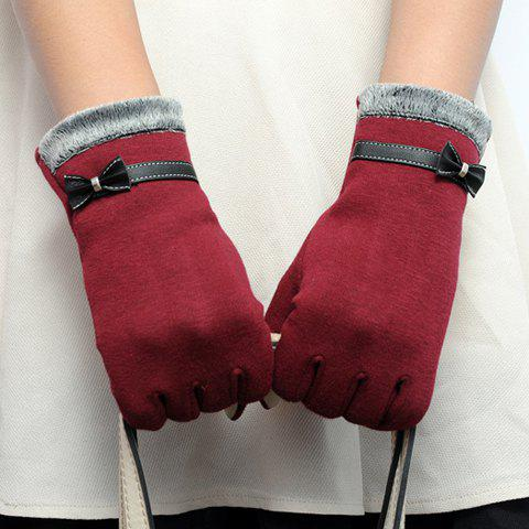 Fashion Pair of Chic Faux Leather Small Bow and Fake Fur Embellished Gloves For Women