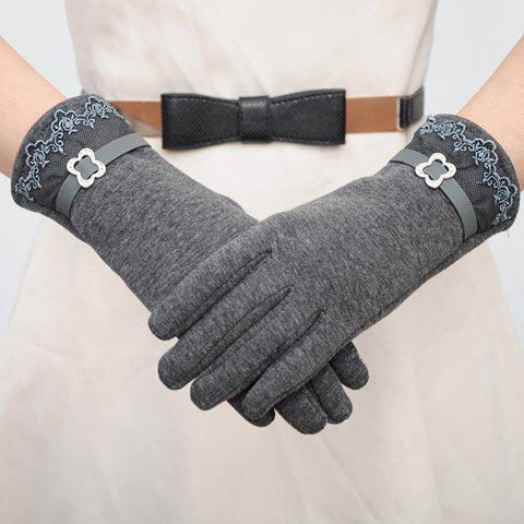Chic Pair of Chic Lace and Rhinestone Buckle Embellished Gloves For Women