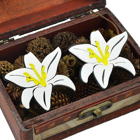 Pair of Alloy Lily Flower Stud Earrings - White - W24 Inch * L71 Inch