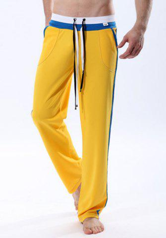 Outfits Personality Double Drawstring Waist Striped Spliced Color Block Straight Leg Men's Fitted Yoga Pants