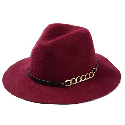Affordable Chic Hollow Out Chain Strappy Embellished Felt Jazz Hat For Women