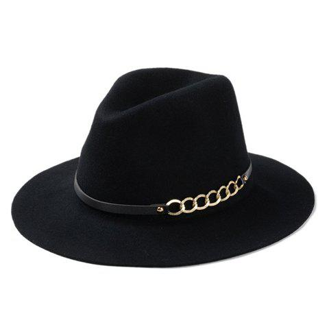 Buy Chic Hollow Out Chain Strappy Embellished Felt Jazz Hat For Women