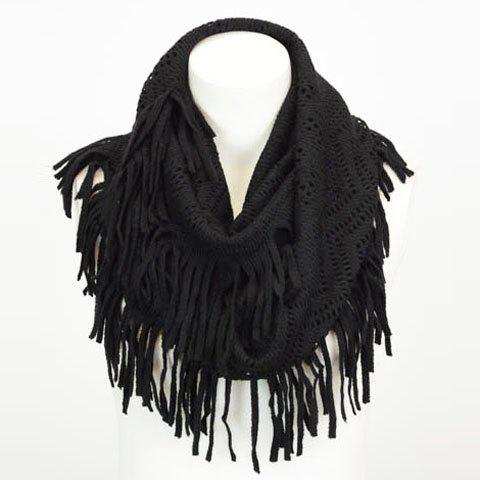 Discount Chic Hollow Out Small Hole Tassel Knitted Neck Warmer For Women