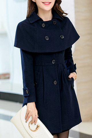 Cheap Elegant Turn-Down Collar Long Sleeves Cape Coat For Women