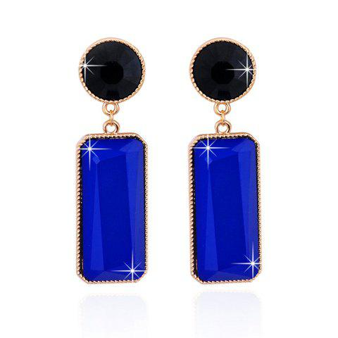New Rectangle Faux Gemstone Drop Earrings