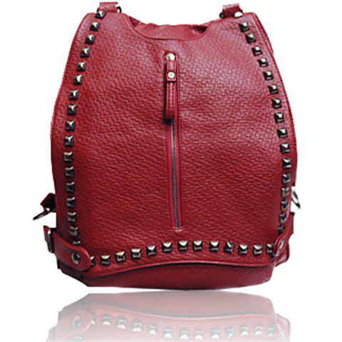 Trendy Stylish Rivet and Embossing Design Women's Satchel
