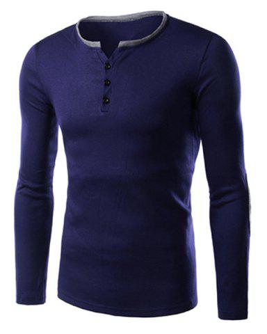 Hot Single-Breasted Color Block Applique Slimming Round Neck Long Sleeves Men's T-Shirt