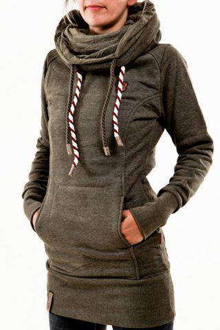 Stylish Hooded Long Sleeve Pocket Design Embroidered Women's
