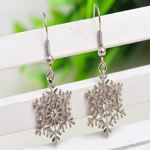 Affordable Pair of Alloy Rhinestone Snowflake Earrings WHITE GOLDEN