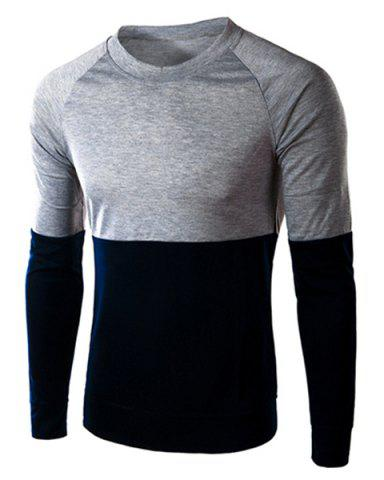 Online Classic Color Lump Splicing Slimming Round Neck Long Sleeves Men's Vogue T-Shirt