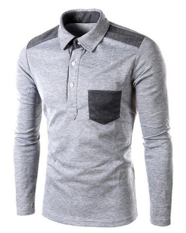 Fancy One Patch Pocket Color Block Splicing Slimming Turn-down Collar Long Sleeves Men's Polo T-Shirt