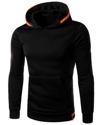 Outfit Color Spliced Zipper Embellished Front Pocket Slimming Hooded Long Sleeves Men's Hoodie