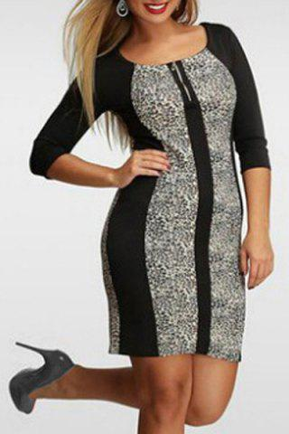 Fashion Stylish Scoop Collar 3/4 Sleeve Color Block Plus Size Women's Dress - 3XL BLACK AND GREY Mobile