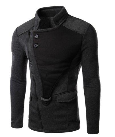 Trendy Personality Applique Inclined Zipper Fly Flap Pocket Stand Collar Long Sleeves Men's Slimming Jacket GRAY M