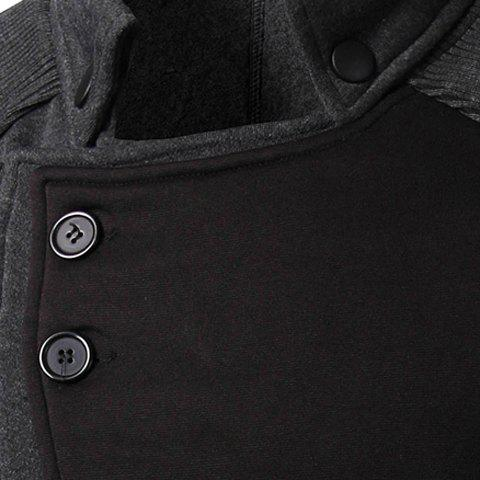 Outfit Personality Applique Inclined Zipper Fly Flap Pocket Stand Collar Long Sleeves Men's Slimming Jacket - M GRAY Mobile