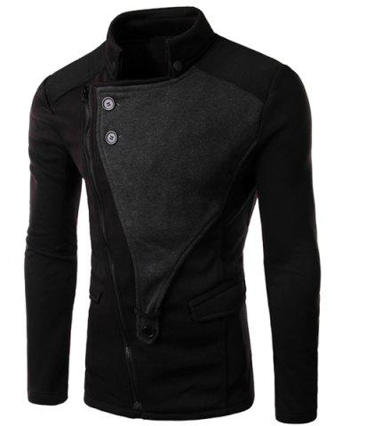 Best Personality Applique Inclined Zipper Fly Flap Pocket Stand Collar Long Sleeves Men's Slimming Jacket BLACK 2XL