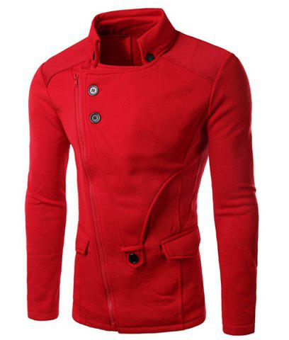Chic Personality Applique Inclined Zipper Fly Flap Pocket Stand Collar Long Sleeves Men's Slimming Jacket RED XL
