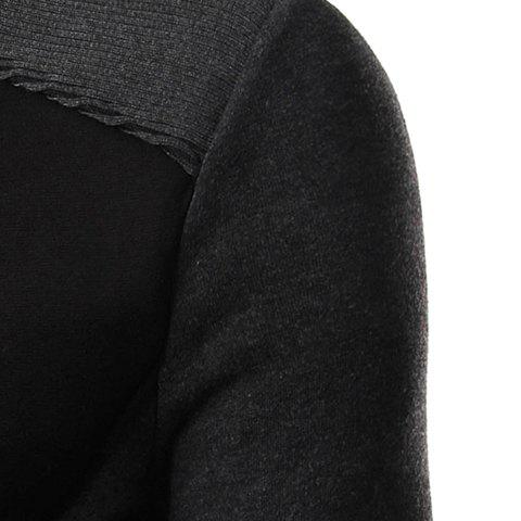 Best Personality Applique Inclined Zipper Fly Flap Pocket Stand Collar Long Sleeves Men's Slimming Jacket - L BLACK Mobile