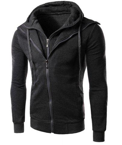 Hot Faux Twinset Rib Spliced Double Zipper Fly Drawstring Hooded Slimming Men's Long Sleeves Hoodie
