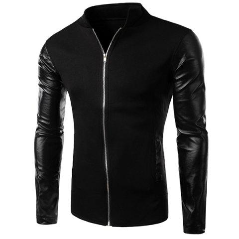 Outfits PU Leather Personality Spliced Hit Color Patch Pocket Stand Collar Long Sleeves Men's Slimming Sweatshirt BLACK M