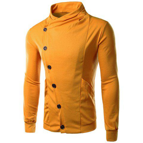 Personality Inclined Button Fly Large Pocket Stand Collar Long Sleeves Men's Slimming Sweatshirt - YELLOW L