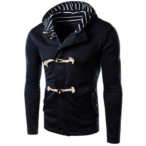 Fancy Slimming Striped Hooded Inclined Patch Pocket Horn Button Long Sleeves Men's Vogue Hoodie BLUE M