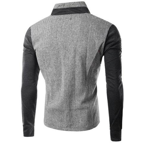 Sale PU-Leather Spliced Patch Pocket Zig-Zag Pattern Hit Color Stand Collar Long Sleeves Men's Slimming Jacket - 2XL GRAY Mobile