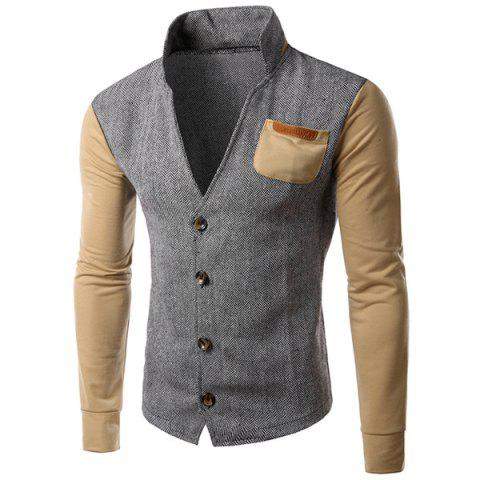 Latest PU-Leather Spliced Patch Pocket Zig-Zag Pattern Hit Color Stand Collar Long Sleeves Men's Slimming Jacket - XL KHAKI Mobile
