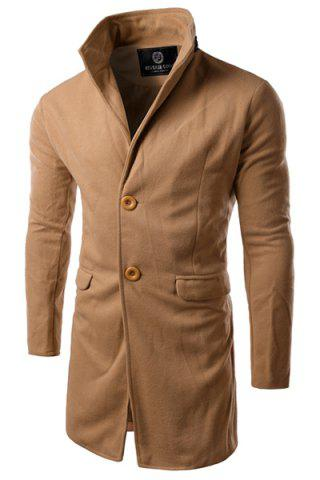 Sale Slimming PU-Leather Spliced Stand Collar Flap Pocket Long Sleeves Men's Woolen Blend Trench Coat
