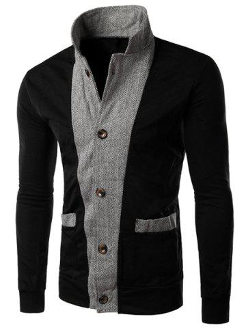 Trendy Color Block Zig-Zag Spliced Stereo Patch Pocket Slimming Stand Collar Long Sleeves Men's Jacket