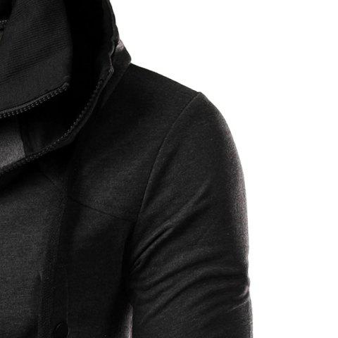 Outfits Hit Color Double Zipper Fly Stereo Flap Pocket Rib Spliced Hooded Long Sleeves Men's Faux Twinset Hoodie - 2XL GRAY Mobile