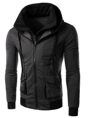 Chic Hit Color Double Zipper Fly Stereo Flap Pocket Rib Spliced Hooded Long Sleeves Men's Faux Twinset Hoodie - 2XL GRAY Mobile
