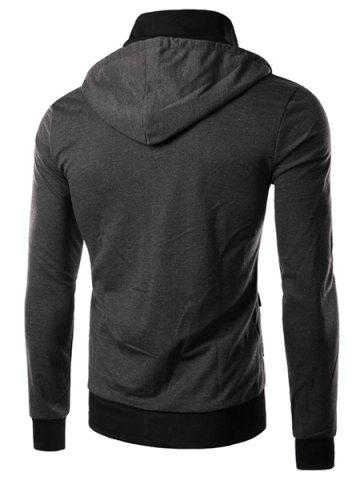 Latest Hit Color Double Zipper Fly Stereo Flap Pocket Rib Spliced Hooded Long Sleeves Men's Faux Twinset Hoodie - 2XL GRAY Mobile