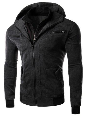 Multi-Zipper Patch Pocket Rib Spliced Hooded Long Sleeves Slimming Men's Thicken Faux Twinset Hoodie - Deep Gray - L