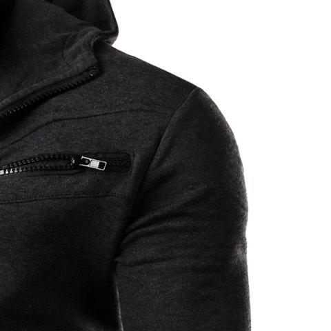 Discount Multi-Zipper Patch Pocket Rib Spliced Hooded Long Sleeves Slimming Men's Thicken Faux Twinset Hoodie - XL DEEP GRAY Mobile