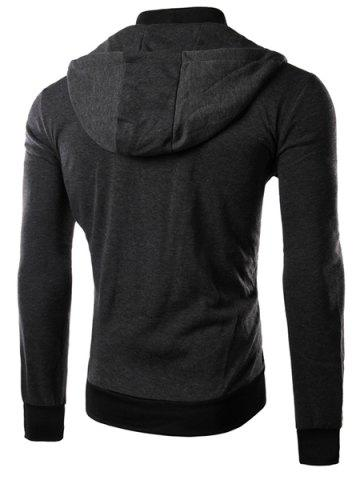 Online Multi-Zipper Patch Pocket Rib Spliced Hooded Long Sleeves Slimming Men's Thicken Faux Twinset Hoodie - XL DEEP GRAY Mobile