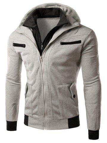 Hot Multi-Zipper Patch Pocket Rib Spliced Hooded Long Sleeves Slimming Men's Thicken Faux Twinset Hoodie LIGHT GRAY L