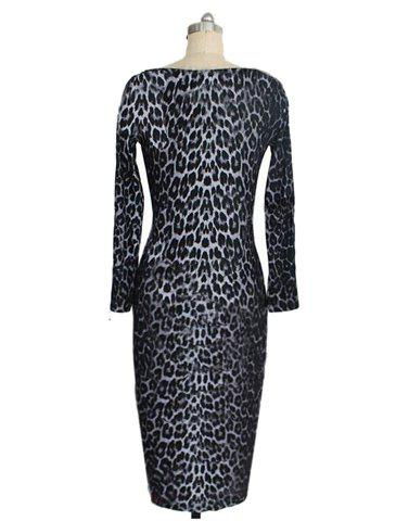 Sexy Style Boat Neck Long Sleeve Leopard Print Women's Slimming Dress от Rosegal.com INT