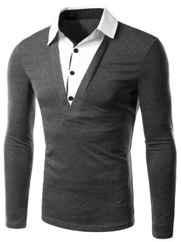 New Classic Faux Twinset Color Block Slimming Shirt Collar Long Sleeves Men's Casual T-Shirt