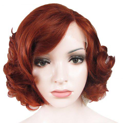 Outfit Stunning Short Brown Side Bang Synthetic Vogue Shaggy Curly Lace Front Wig For Women