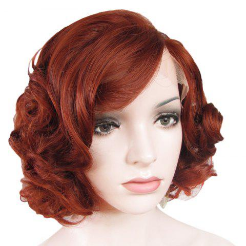 New Stunning Short Brown Side Bang Synthetic Vogue Shaggy Curly Lace Front Wig For Women - BROWN  Mobile