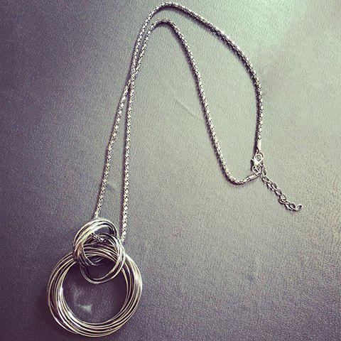 Chic Annulus Alloy Hollow Out Pendant Necklace
