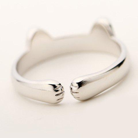 Store Alloy Cat Cuff Ring - ONE-SIZE SILVER Mobile